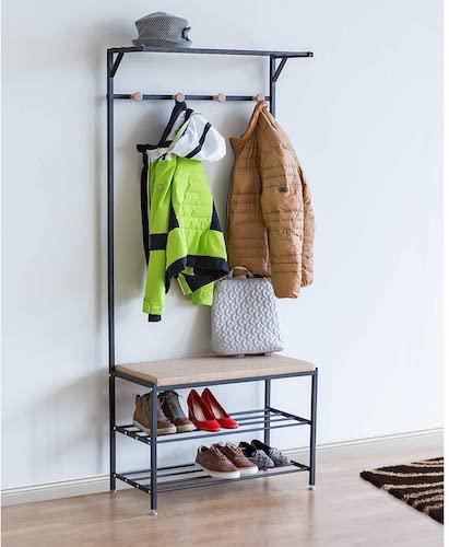 8.Tatkraft Solution Entryway Hall Tree, 2-tier Shoe Bench, Coat Rack with Shelf, Multifunctional Hallway Storage Organizer