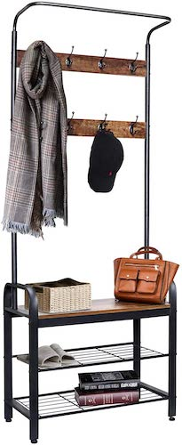 6.ZNCMRR Entryway Hall Tree with Shoe Bench, Rustic Coat Rack Industrial Entryway Furniture Organizer