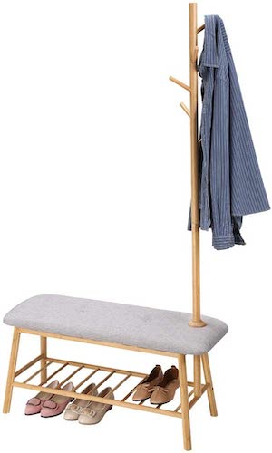 9.LANGRIA Bamboo Coat Rack with Soft Padded Shoe Bench Features Slatted Shelf and 5 Hooks