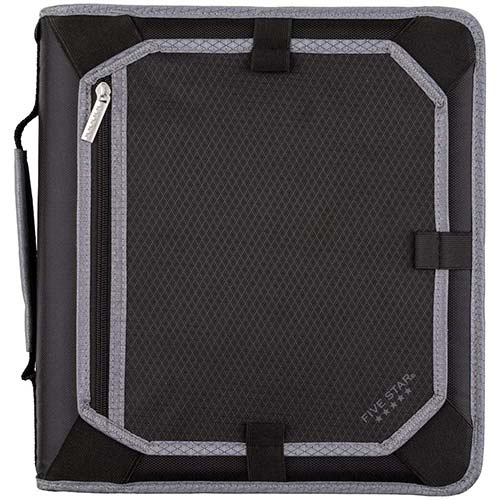 6. Five Star 2 Inch Zipper Binder, 3 Ring Binder, Expansion Panel, Durable, Black/Gray (29052IT8)