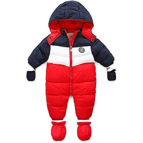 5. RUIMING Newborn Baby Snowsuit Infant Winter Coat Hooded Zipper Jumpsuit Outwear Footed Romper