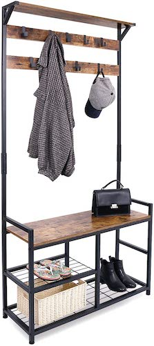 1.HOMEKOKO Coat Rack Shoe Bench, Hall Tree Entryway Storage Bench, Wood Look Accent Furniture with Metal Frame