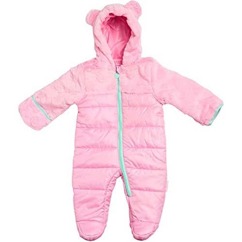 8. RUIMING Newborn Baby Snowsuit Infant Winter Coat Hooded Zipper Jumpsuit Outwear Footed Romper