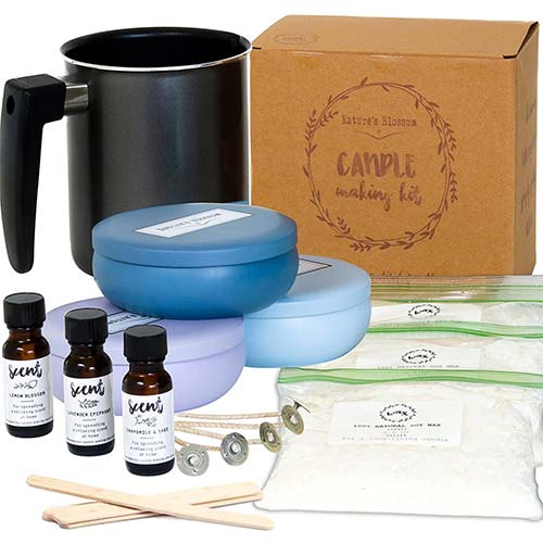 7. Nature's Blossom Candle Making Supplies Kit - Easily Create 3 Large Scented Candles. Beginners DIY Starter Set