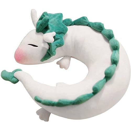 6. IXI Dragon Plush Doll Toy Pillow - Anime Cute White Dragon Neck U-Shape Pillow Lovely Dragon Stuffed Toy