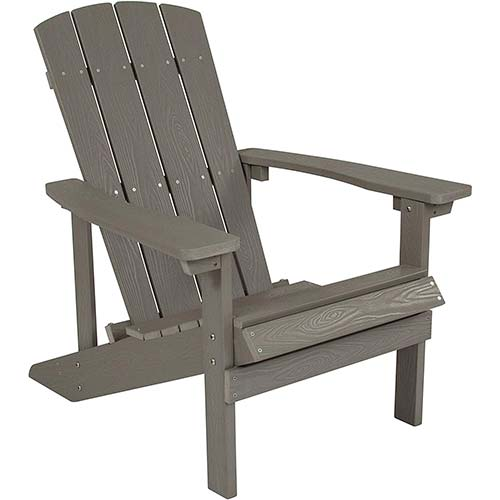 1. Flash Furniture Charlestown All-Weather Adirondack Chair in Light Gray Faux Wood