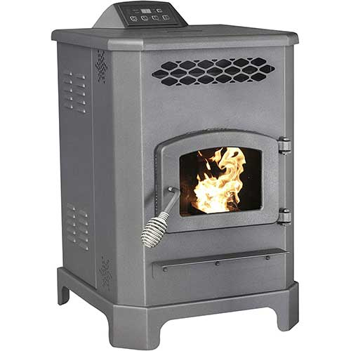 4. US Stove 5501S 2,200 Sq. Ft. King Mini Pellet Stove with 20 lb. Hopper and Remote