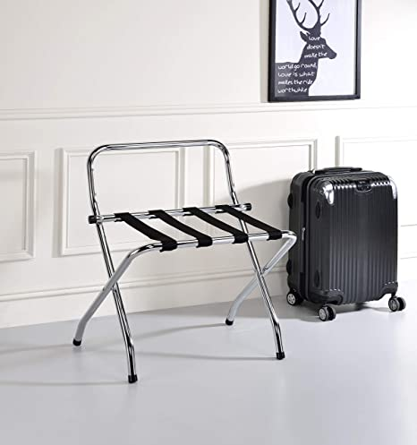 8. Kings Brand Furniture - Chrome / Black Metal Foldable High Back Luggage Rack