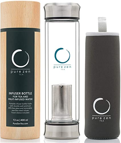 2. Pure Zen Tea Tumbler with Infuser - BPA Free Double Wall Glass Travel Tea Mug with Stainless Steel Filter