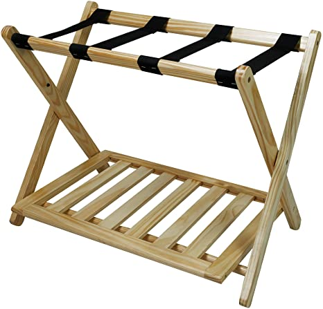 10. Casual Home Luggage Rack with Shelf, Natural