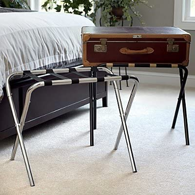 9. USTECH Chrome Luggage Rack Suitcase Stand, Fold or Disassemble for Compact Storage, Metal