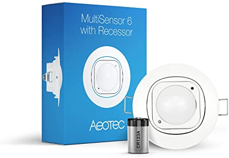 5. Aeotec Multisensor 6 & Ceiling Recessor, Z-Wave Plus 6-in-1 Motion, Temperature, Humidity, Light, UV, Vibration Sensor, Battery included