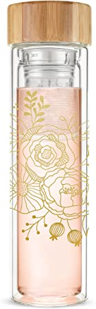 9. Pinky Up Blair Loose Leaf Tea Travel Infuser Mug Double-Walled Glass and Stainless Steel with Bamboo Lid, 16 oz