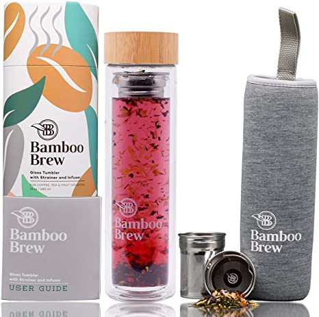 8. Bamboo Brew Glass Travel Tumbler with Infuser & Strainer 16oz | Borosilicate Glass Coffee & Tea Flask