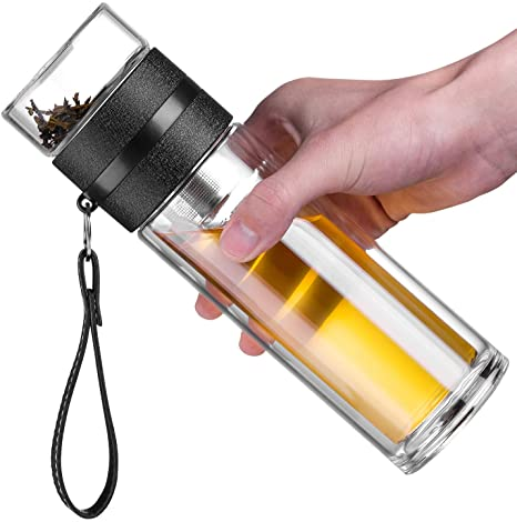 4. Ceoon 13oz Double Wall Glass Water Bottle Tea and Water Separation Tea Bottle Mug Cup with Tea Infuser (Black)