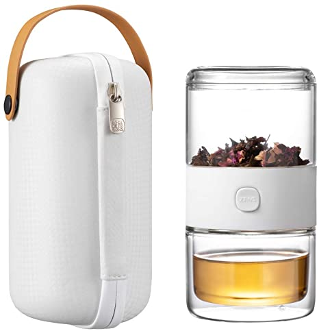 6. ZENS Travel Tea Set, Glass Portable Teapot Infuser Set for One with 200ml Double Walled Teacup