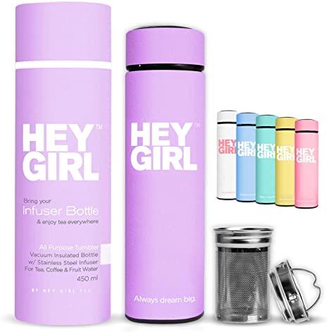 10. Hey Girl Tea Infuser Bottle - Insulated Travel Tea Tumbler For Herbal , Loose Leaf Tea & Tea Bags