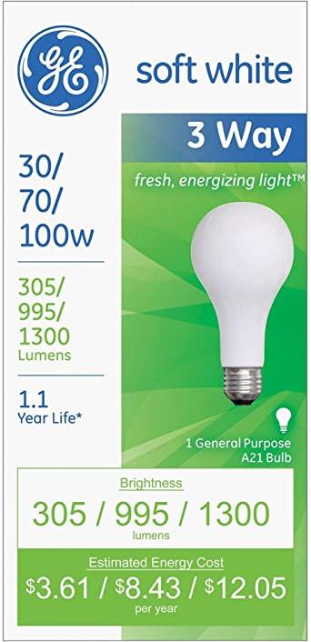 6. GE Lighting 97493 30-Watt - 70-Watt - 100-Watt A21 3-Way, Soft White, 6-Pack