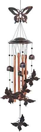 1. BLESSEDLAND Butterfly Wind Chime-4 Hollow Aluminum Tubes -5 Wind Bells 7 Butterflies-Wind Chime with S Hook for Indoor and Outdoor