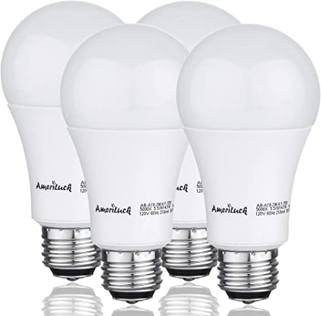 10. AmeriLuck 2700K Soft White 3-Way LED Light Bulb A19, 40-60-100W Equivalent, Omni-Directional, UL Listed (4 Pack)