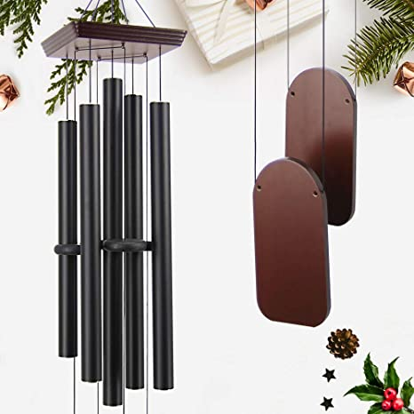 """10. ASTARIN 48"""" Large Wind Chimes Outdoor Sympathy Wind Chime with 5 Heavy Aluminum Tubes Tuned Soothing Melody, Memorial Wind Chimes"""