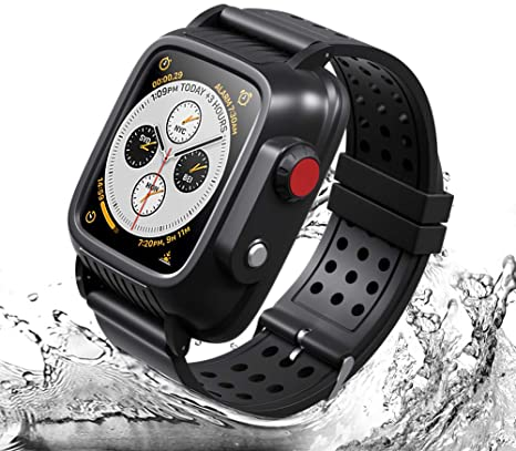8. Waterproof Apple Watch Case 38mm Series 3 with 3 Soft Silicon Band, Meritcase IP68 iWatch Waterproof Case