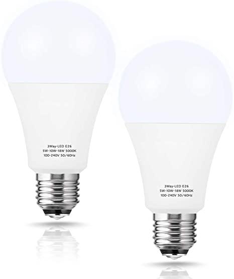 2. Briignite 3 Way Led Light Bulbs 50-100-150W Equivalent Daylight White 5000K, 3-Way A21 Led Light Bulb E26 Medium Base