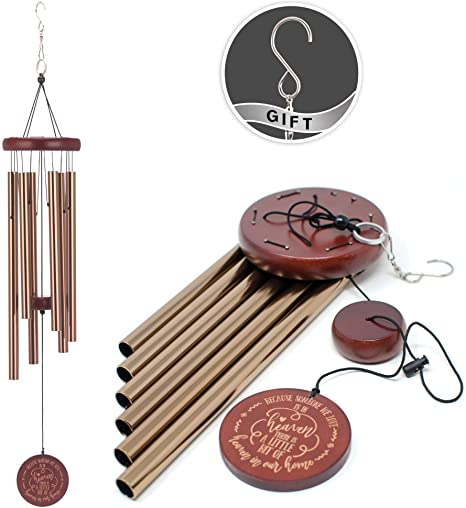 7. COOME Memorial Wind Chimes Outdoor Large Deep Tone 30 Inch Sympathy Wind Chimes with 6 Aluminum Tubes & Hook Keepsake Present