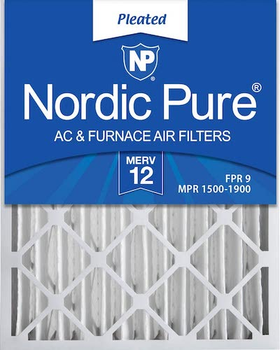 8.Nordic Pure 20x25x4 MERV 12 Pleated AC Furnace Air Filters 2 Pack