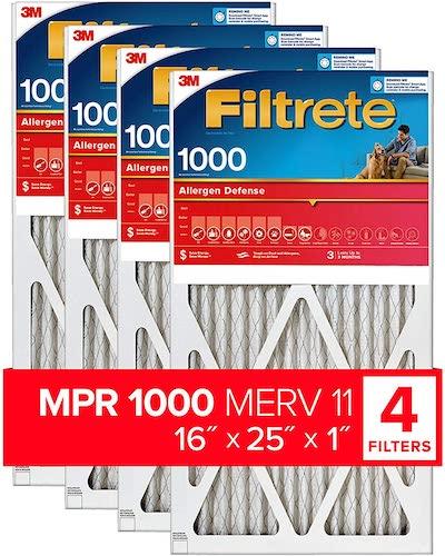 1.Filtrete 16x25x1, AC Furnace Air Filter, MPR 1000, Micro Allergen Defense, 4-Pack (exact dimensions 15.69 x 24.69 x 0.81)