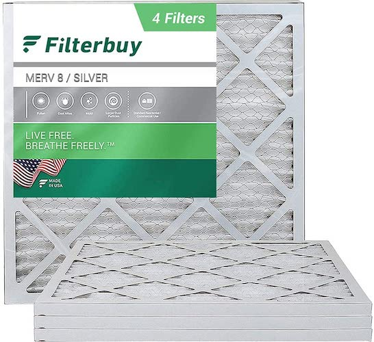 5.FilterBuy 20x20x1 Air Filter MERV 8, Pleated HVAC AC Furnace Filters (4-Pack, Silver)