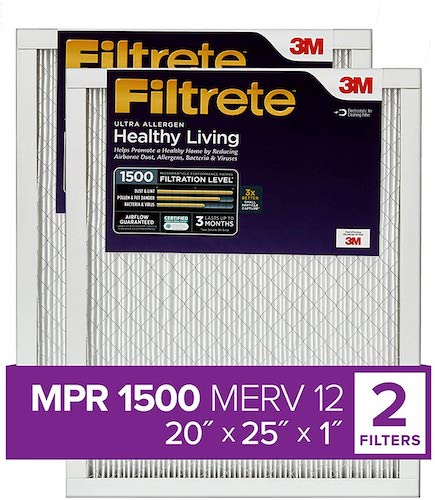 3.Filtrete 20x25x1, AC Furnace Air Filter, MPR 1500, Healthy Living Ultra Allergen, 2-Pack (exact dimensions 19.719 x 24.688 x 0.78)