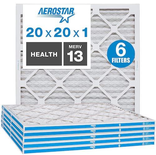 9.Aerostar 20x20x1 MERV 13 Pleated Air Filter, AC Furnace Air Filter, Captures Virus Particles, 6-Pack