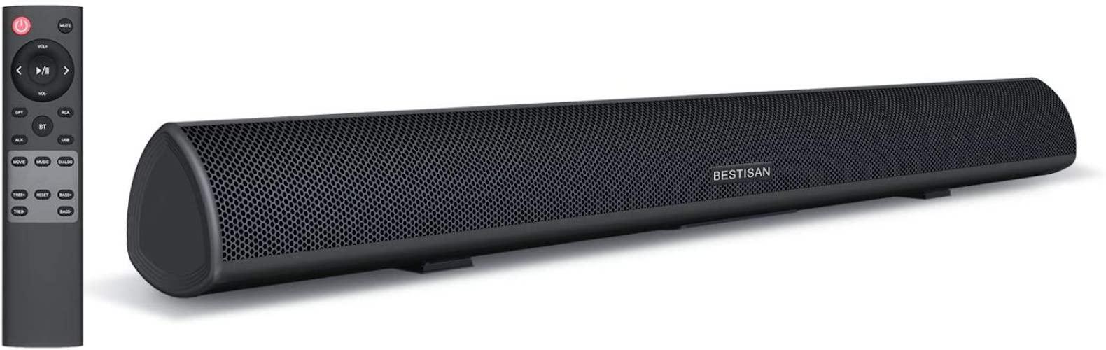 5.80Watt 34Inch Sound bar, BestisanSoundbar Bluetooth 5.0 Wireless and Wired Home Theater Speaker