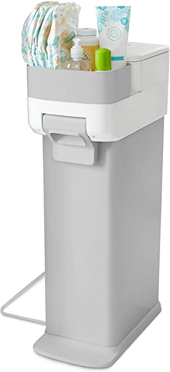 3. Skip Hop Diaper Pail with Dual Air-Lock, Premium Slim Design, Fits Standard Trash Bags, White