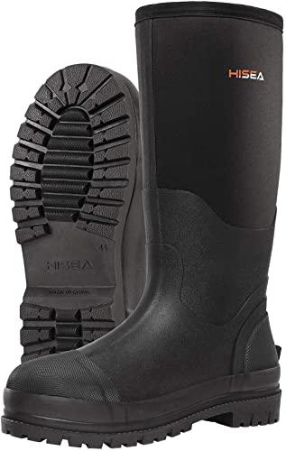4. HISEA Men's Work Boots Neoprene Rubber Rain Boots