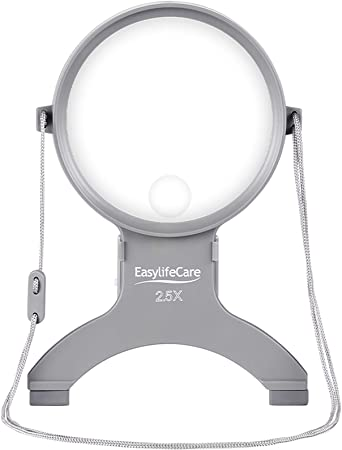 4. EasyLifeCare Hands Free Chest Rest LED Magnifier - Neck Wear Visual Aid Illuminated Magnifying Glass