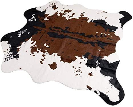 2. MustMat Brown Cow Print Rug 55.1
