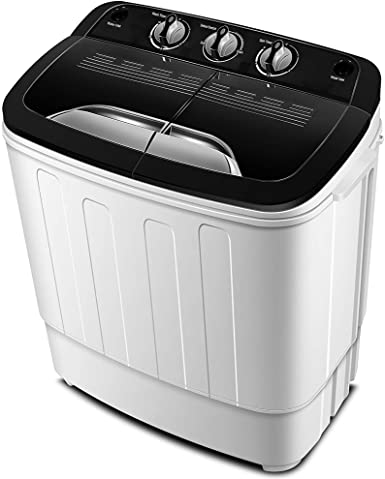 1. Portable Washing Machine TG23 - Twin Tub Washer Machine with 7.9lbs Wash and 4.4lbs Spin Cycle Compartments by Think Gizmos