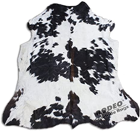 8. Real Cowhide Genius Leather Hair on Leather Rug by RODEO Decorative Value Size Approx 6X7 ft (Black and White)