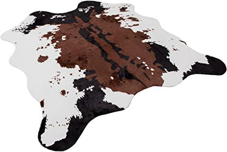 1. NativeSkins Faux Cowhide Rug (4.6ft x 5.2ft) - Cow Print Area Rug for a Western Boho Decor