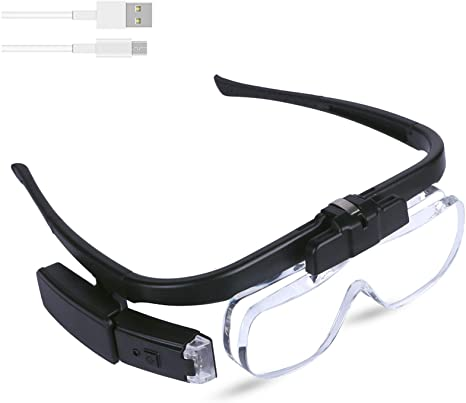 7. Head Mount Magnifier Glasses with 3 Detachable Lenses, USB Rechargeable LED Light Hands Free Headband Magnifying Glass