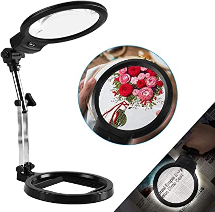 6. LANCOSC 2-in-1 Magnifying Desk Lamp & Handheld Magnifying Glass with Light, 5.5 Inches, 2X-6X Hands Free Magnifiers Lens
