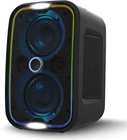 10. Brookstone Big Blue Go High Power Wireless Indoor/Outdoor Portable Speaker, Bluetooth, Built-in Qi Charging Pad, LED Party Lights