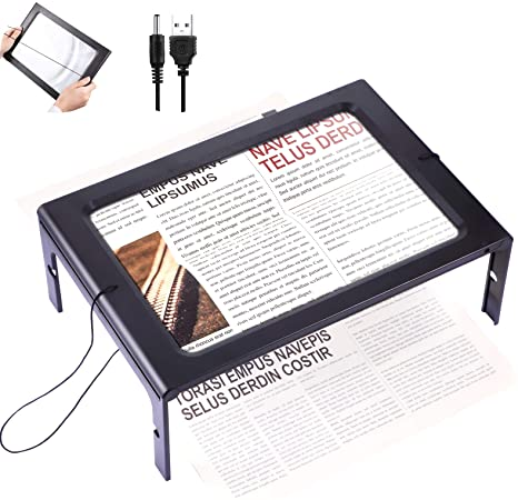 5. Rectangular Page Magnifier with 12 LED Lights 3X Magnifying Glass Folding and Hands-Free Led Full-Page Magnifier with Dual Power Mode