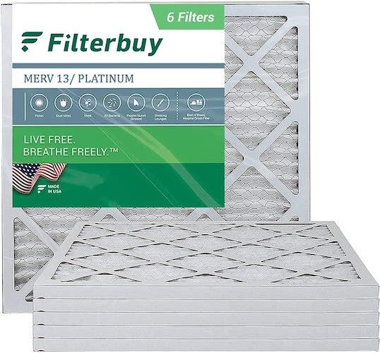 7.FilterBuy 20x20x1 Air Filter MERV 13, Pleated HVAC AC Furnace Filters (6-Pack, Platinum)