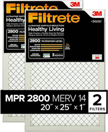 3.Filtrete 20x25x1, AC Furnace Air Filter, MPR 2800, Healthy Living Ultrafine Particle Reduction, 2-Pack