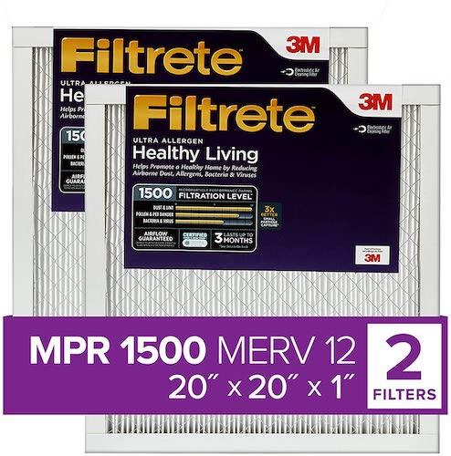 2.Filtrete 20x20x1, AC Furnace Air Filter, MPR 1500, Healthy Living Ultra Allergen, 2-Pack