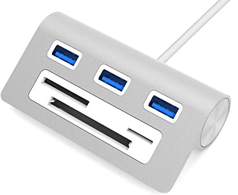 9. Sabrent Premium 3 Port Aluminum USB 3.0 Hub with Multi-in-1 Card Reader (12