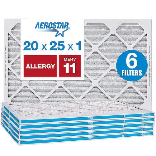 8.Aerostar Allergen & Pet Dander 20x25x1 MERV 11 Pleated Air Filter, Made in the USA, 6-Pack